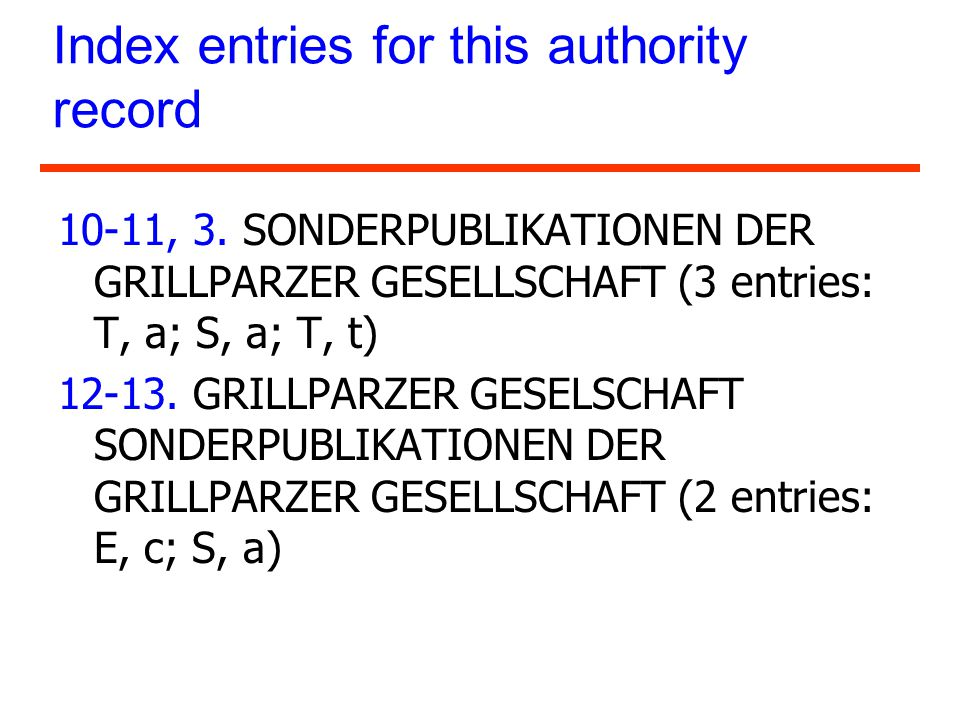 Index entries for this authority record