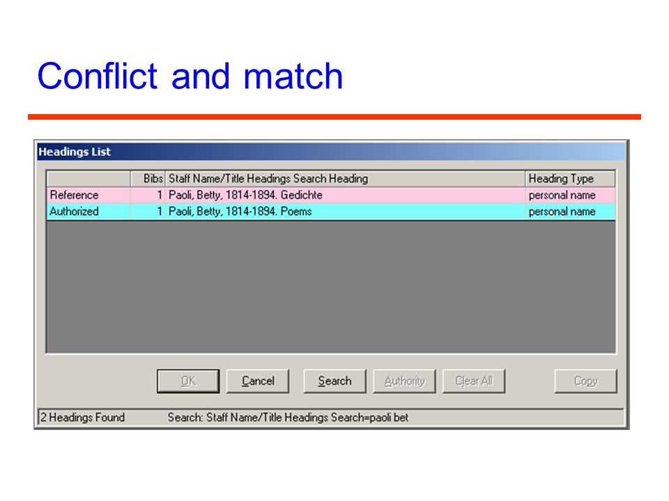 Conflict and match