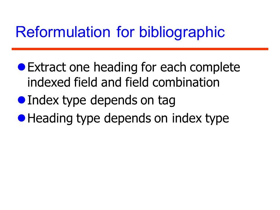Reformulation for bibliographic