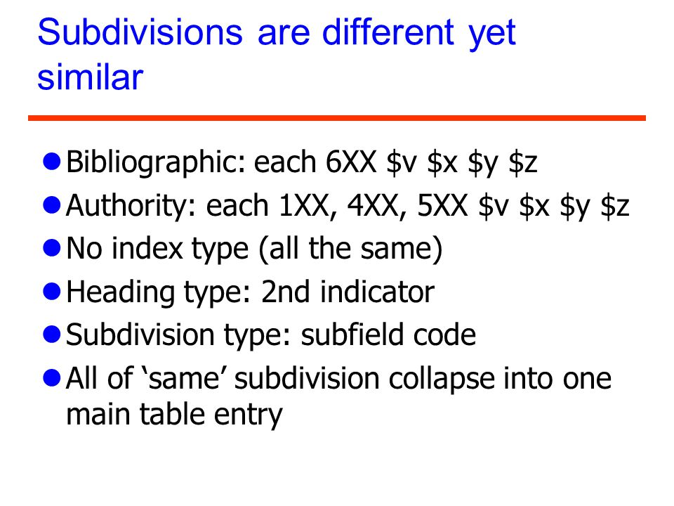 Subdivisions are different yet similar