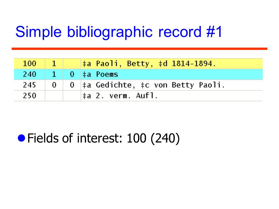Simple bibliographic record #1