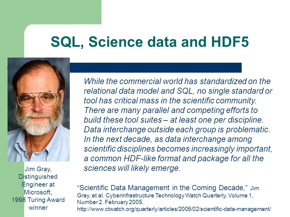 SQL, Science data and HDF5