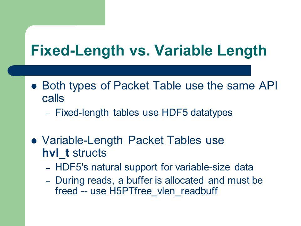 Fixed-Length vs. Variable Length