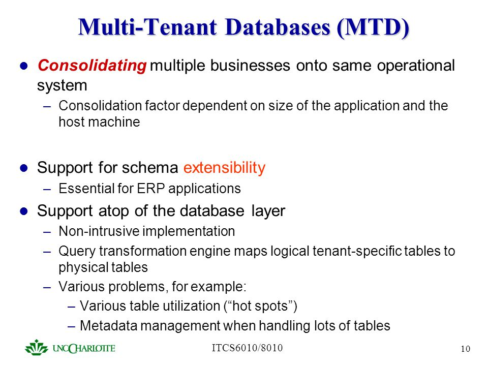 Multi-Tenant Databases (MTD)