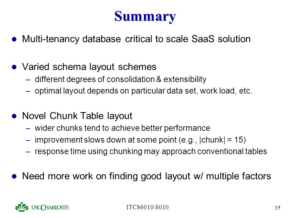 Summary Multi-tenancy database critical to scale SaaS solution