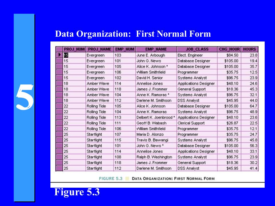 Data Organization: First Normal Form