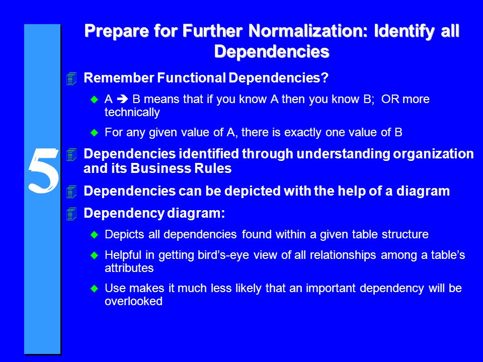 Prepare for Further Normalization: Identify all Dependencies