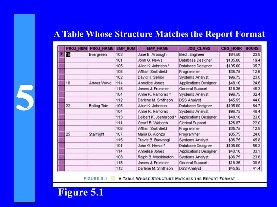 Figure 5.1 A Table Whose Structure Matches the Report Format