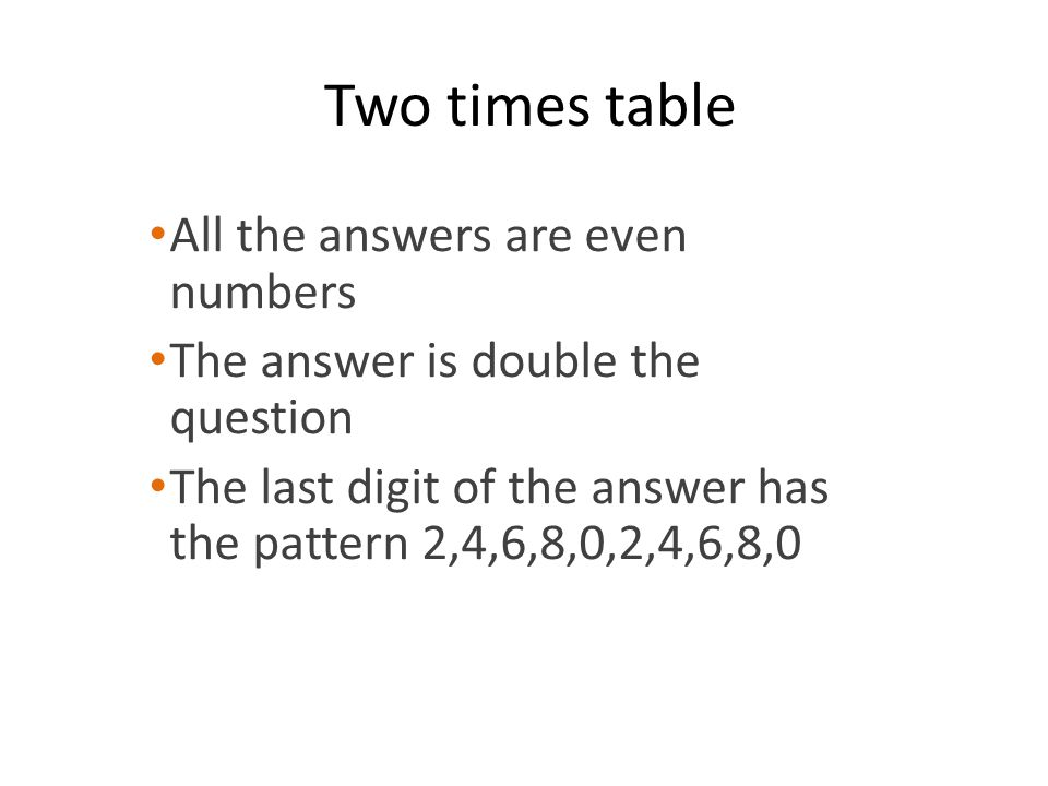 Two times table All the answers are even numbers