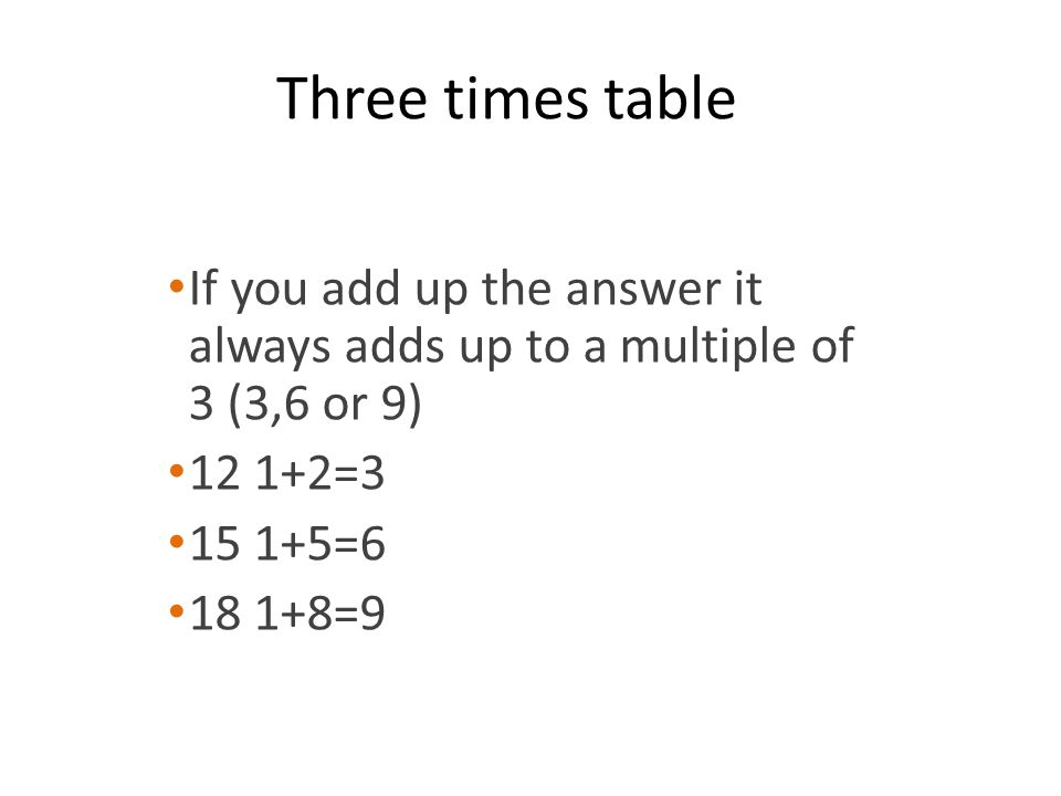Three times table If you add up the answer it always adds up to a multiple of 3 (3,6 or 9) 12 1+2=3.