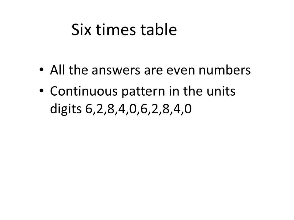 Six times table All the answers are even numbers
