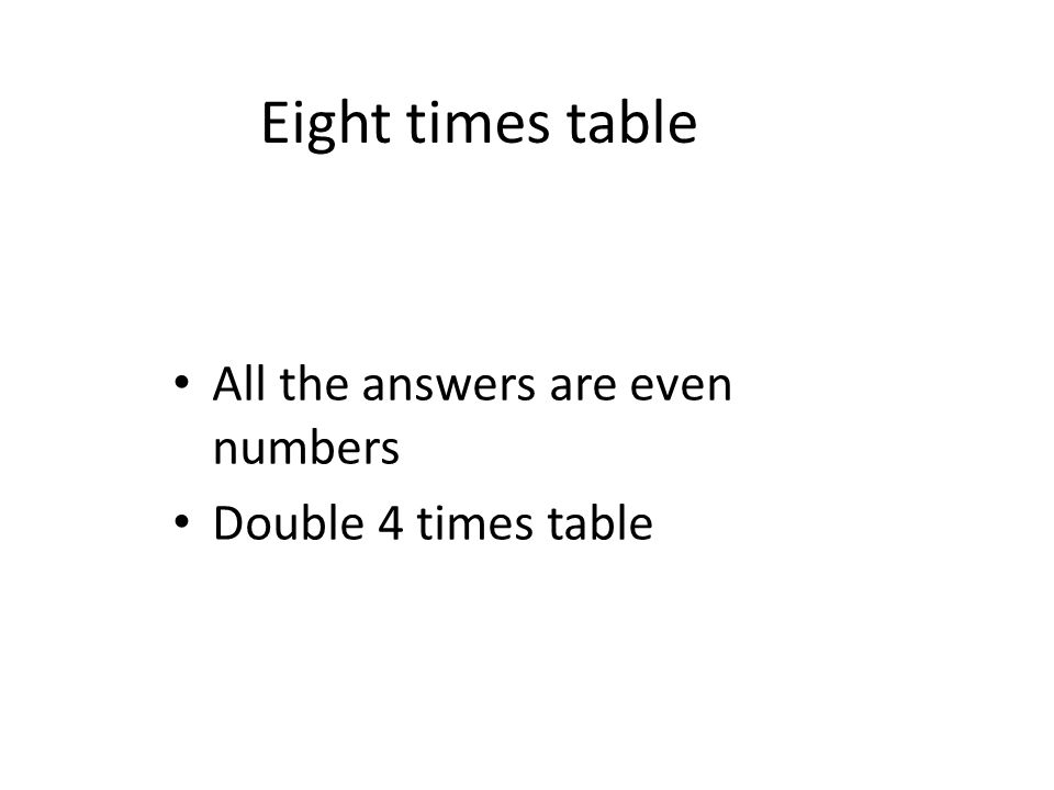 Eight times table All the answers are even numbers