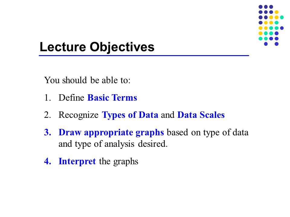 Lecture Objectives You should be able to: Define Basic Terms