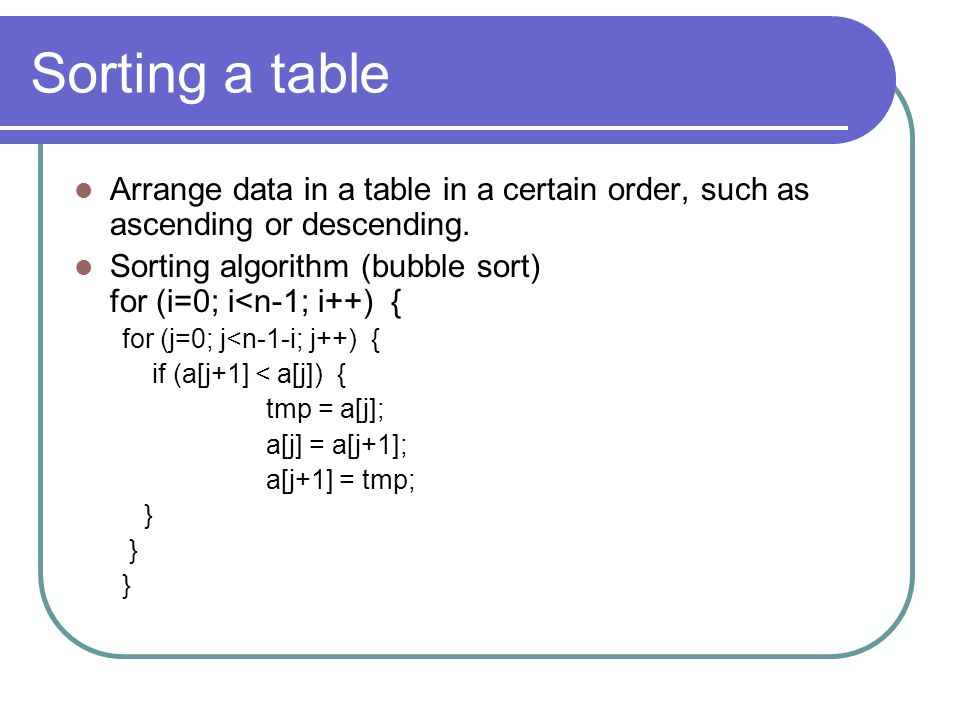 Sorting a table Arrange data in a table in a certain order, such as ascending or descending.