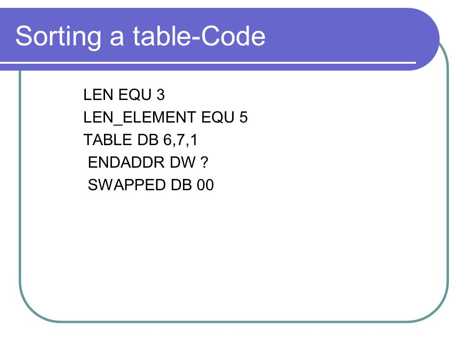 Sorting a table-Code LEN EQU 3 LEN_ELEMENT EQU 5 TABLE DB 6,7,1
