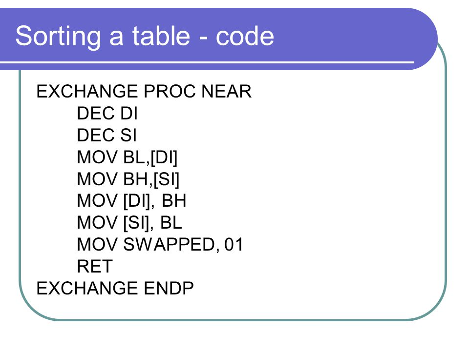 Sorting a table - code EXCHANGE PROC NEAR DEC DI DEC SI MOV BL,[DI]
