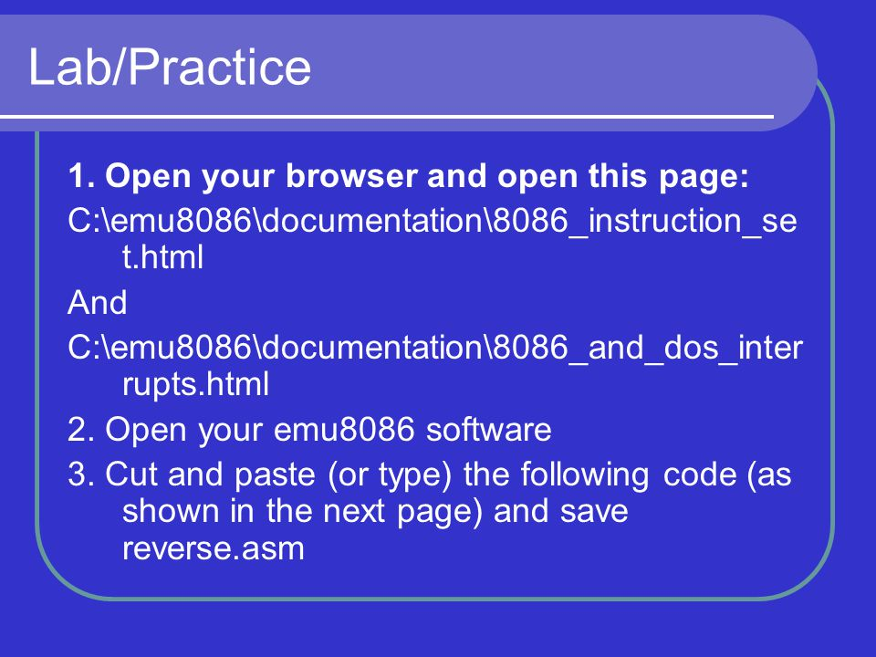 Lab/Practice 1. Open your browser and open this page: