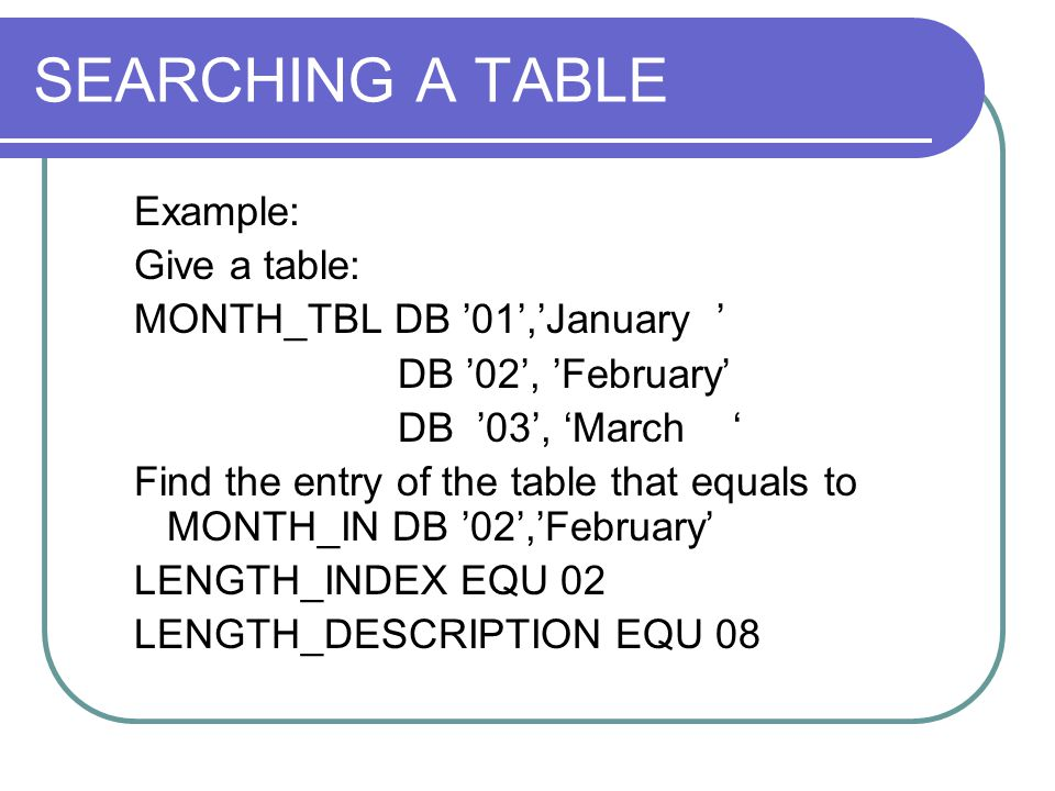 SEARCHING A TABLE Example: Give a table: MONTH_TBL DB '01','January '