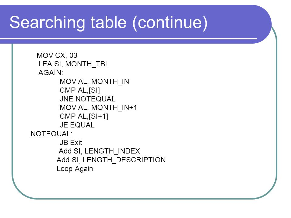 Searching table (continue)