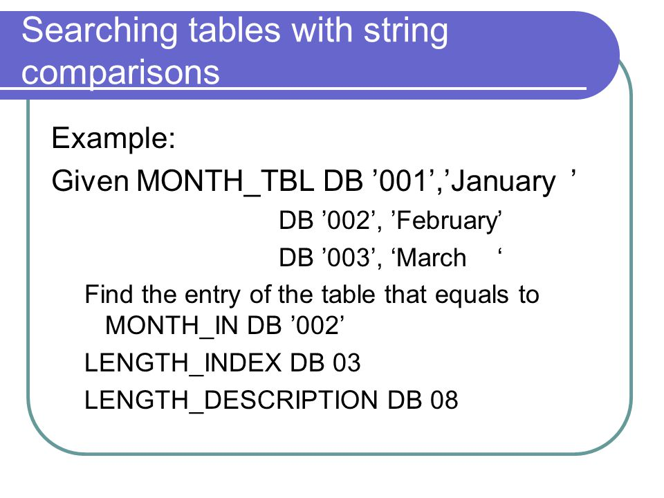 Searching tables with string comparisons