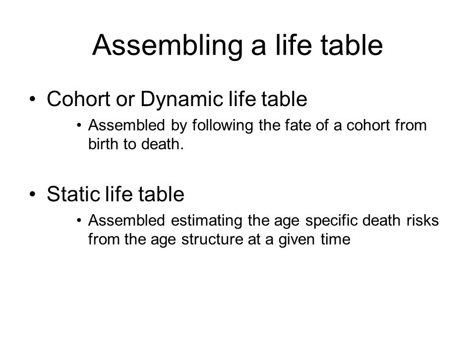 Assembling a life table