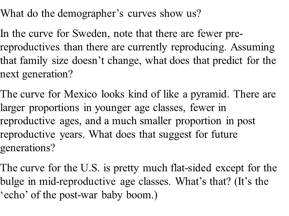 What do the demographer's curves show us