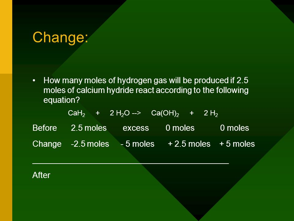 Change: How many moles of hydrogen gas will be produced if 2.5 moles of calcium hydride react according to the following equation