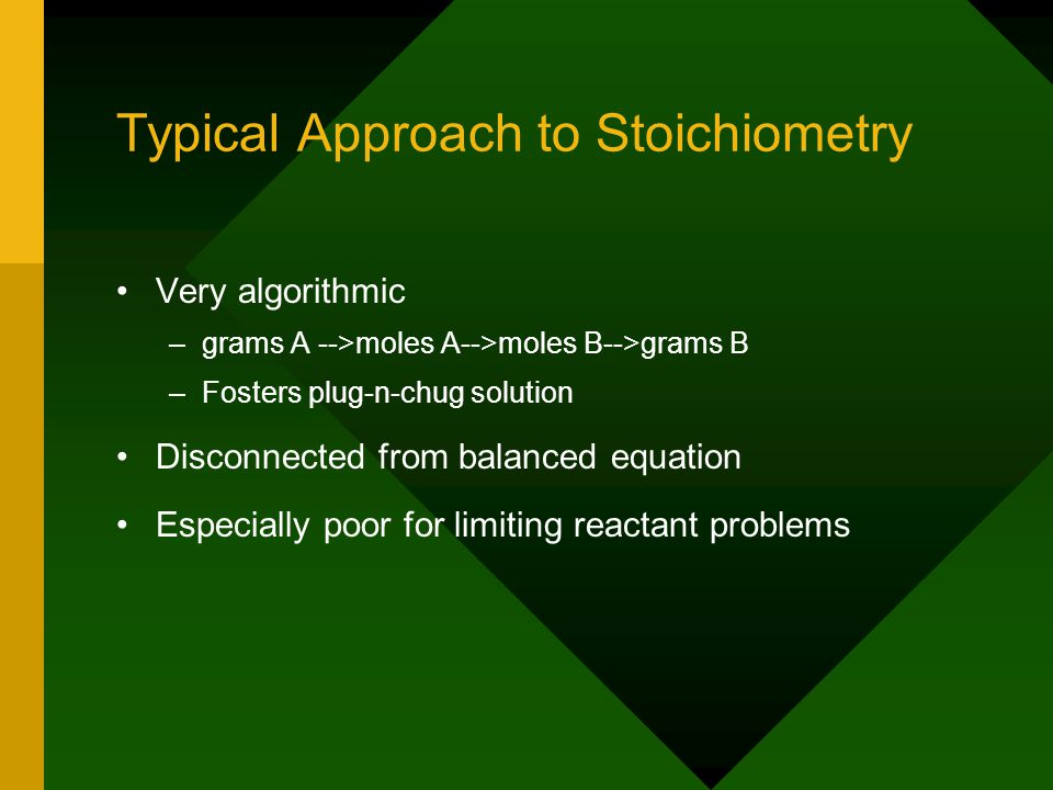 Typical Approach to Stoichiometry