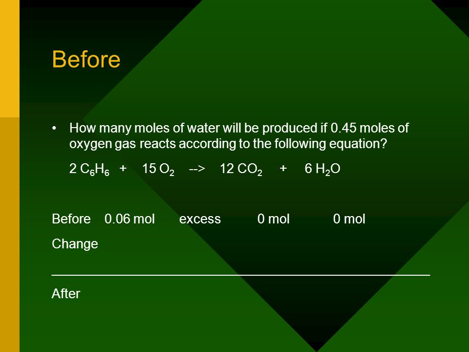 Before How many moles of water will be produced if 0.45 moles of oxygen gas reacts according to the following equation