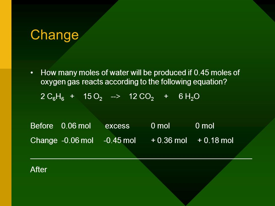 Change How many moles of water will be produced if 0.45 moles of oxygen gas reacts according to the following equation