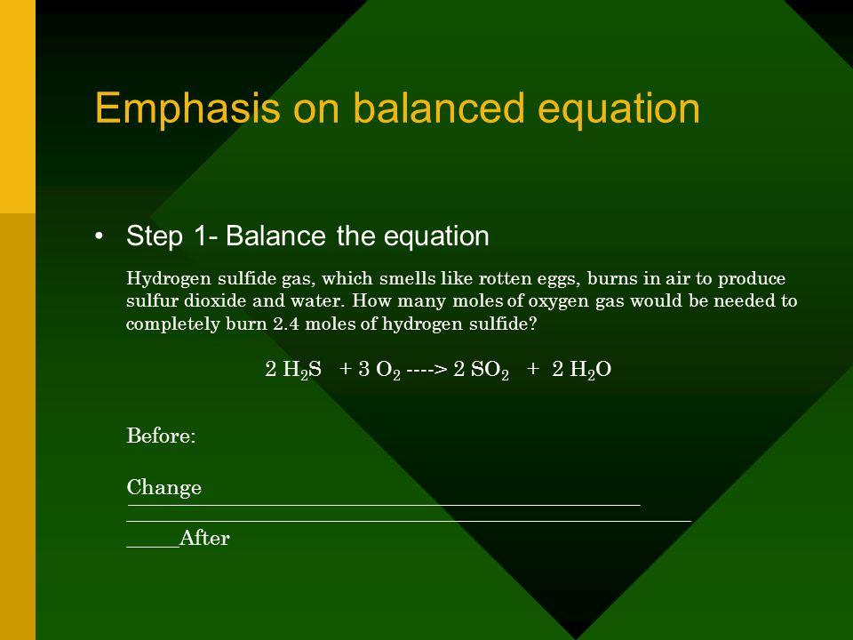 Emphasis on balanced equation