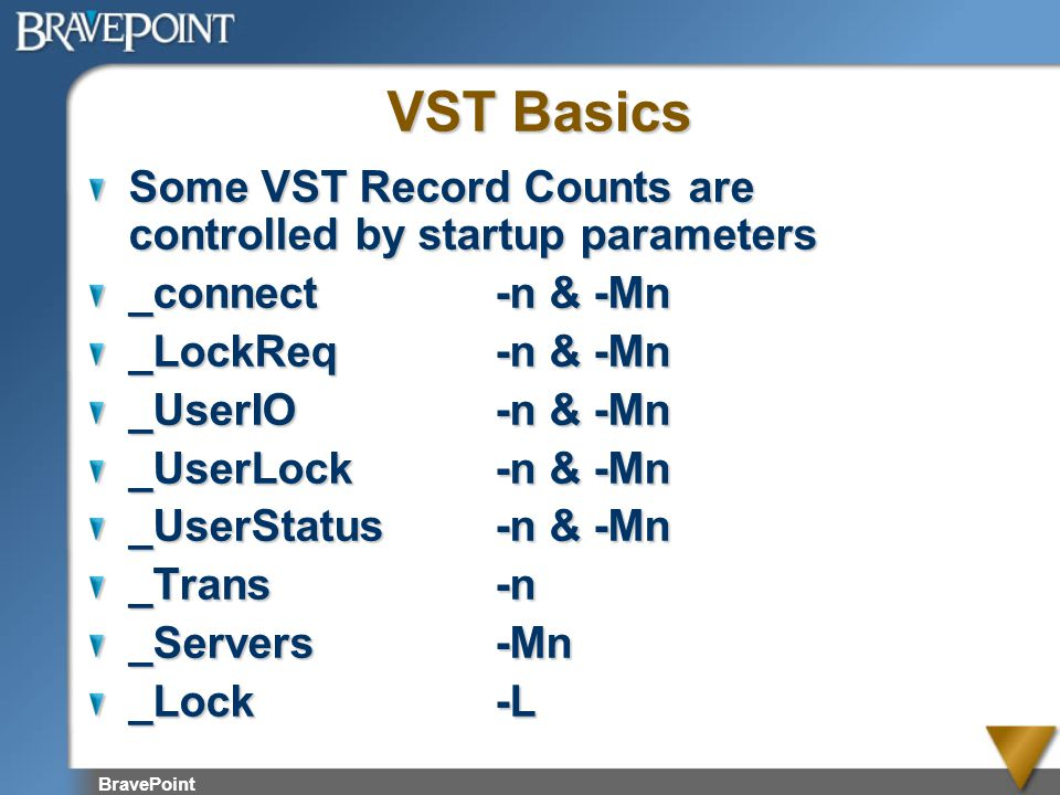 VST Basics Some VST Record Counts are controlled by startup parameters