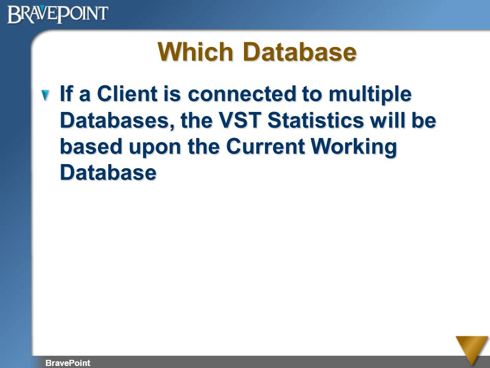 Which Database If a Client is connected to multiple Databases, the VST Statistics will be based upon the Current Working Database.