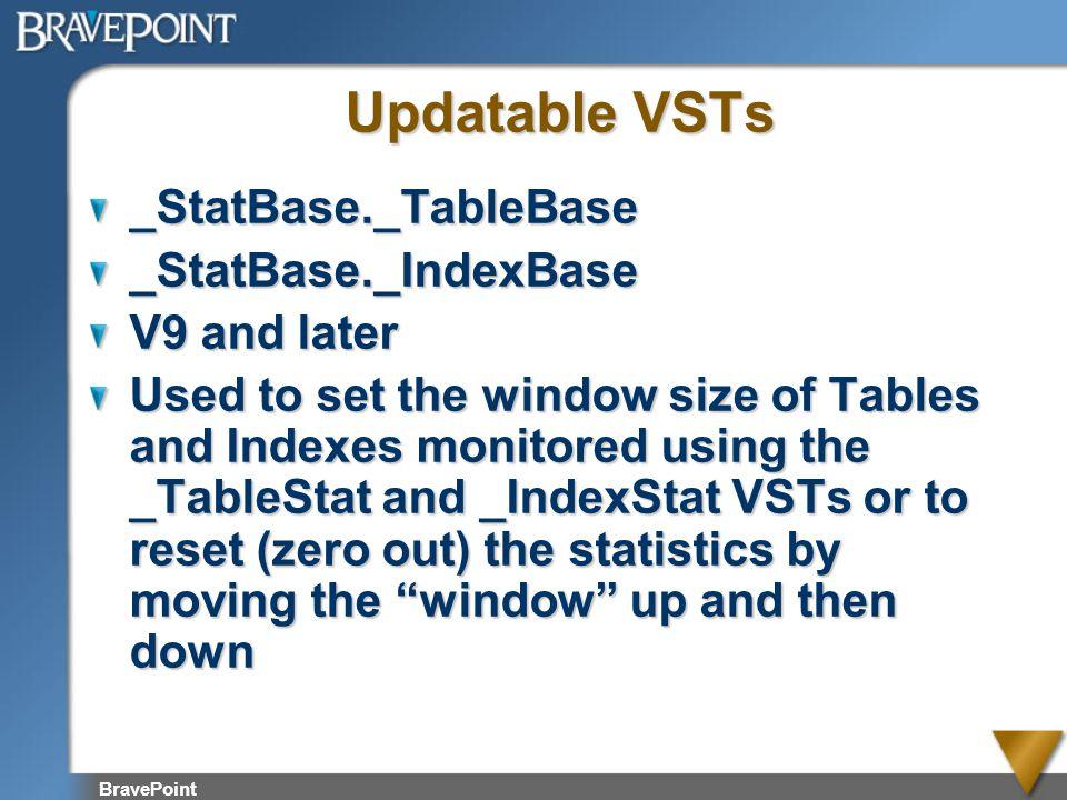 Updatable VSTs _StatBase._TableBase _StatBase._IndexBase V9 and later