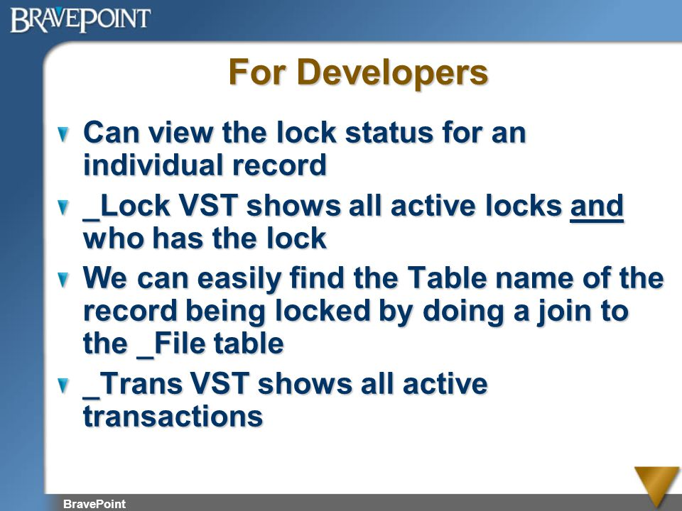 For Developers Can view the lock status for an individual record