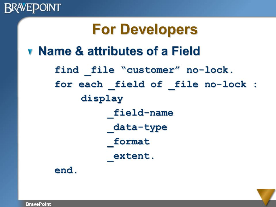 For Developers Name & attributes of a Field
