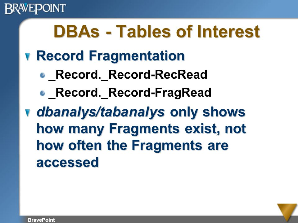 DBAs - Tables of Interest