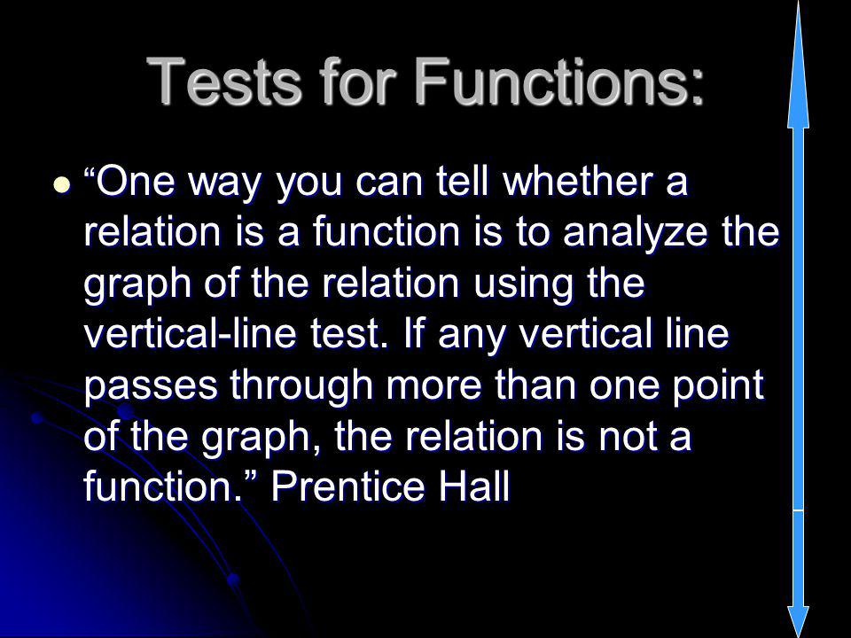 Tests for Functions: