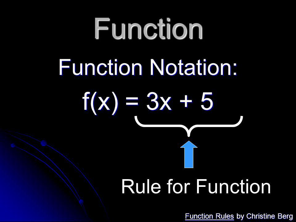 Function f(x) = 3x + 5 Function Notation: Rule for Function