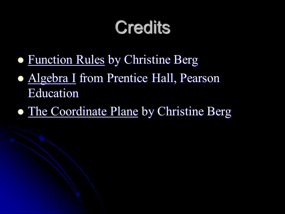 Credits Function Rules by Christine Berg