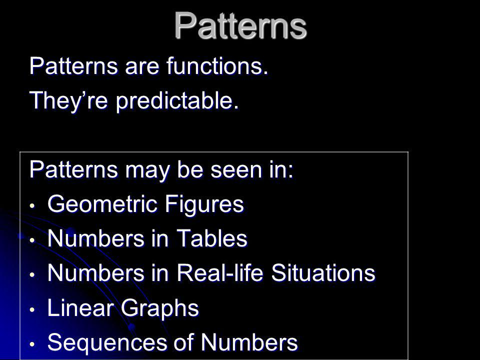 Patterns Patterns are functions. They're predictable.