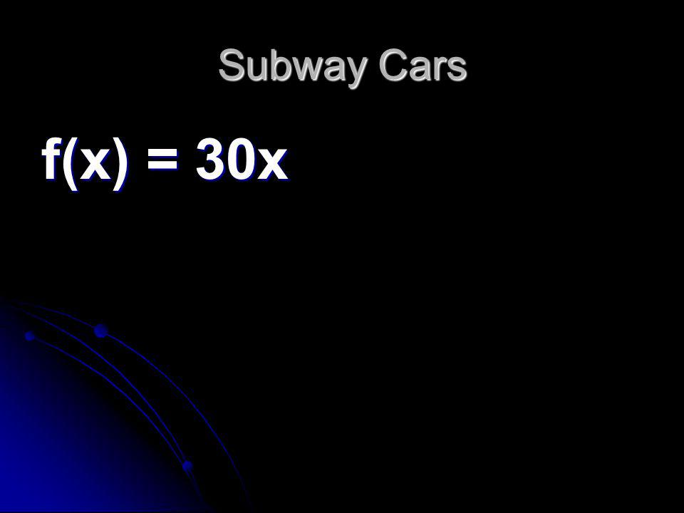 Subway Cars f(x) = 30x