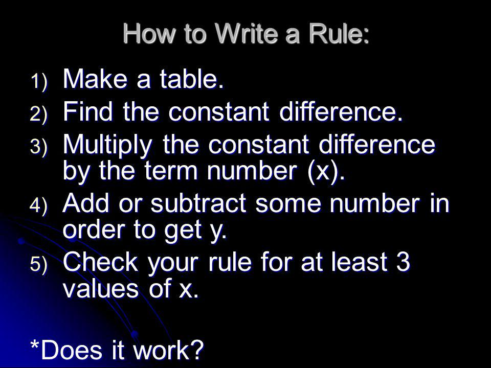 How to Write a Rule: Make a table. Find the constant difference. Multiply the constant difference by the term number (x).