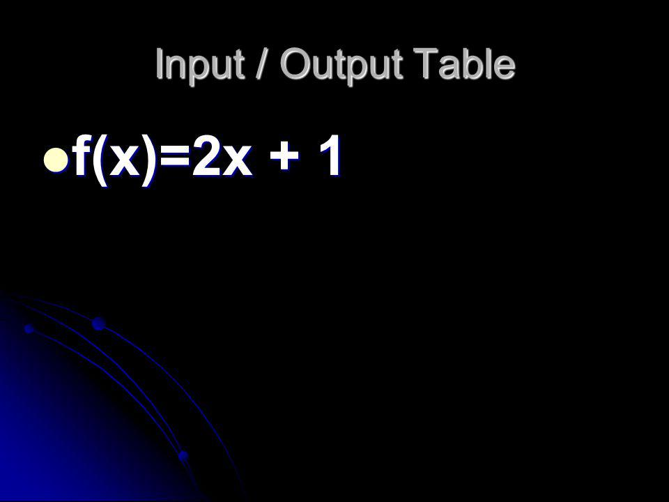 Input / Output Table f(x)=2x + 1