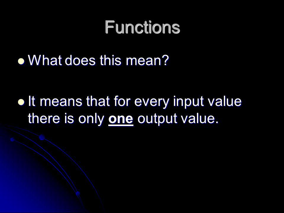 Functions What does this mean