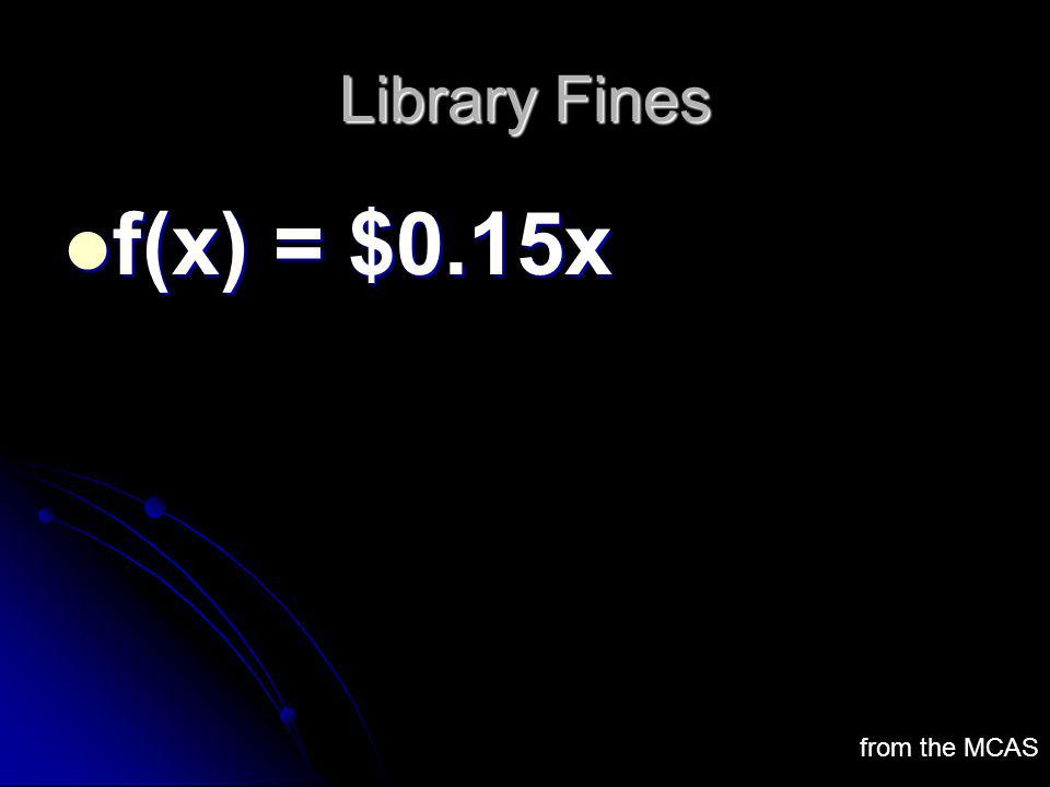 Library Fines f(x) = $0.15x from the MCAS