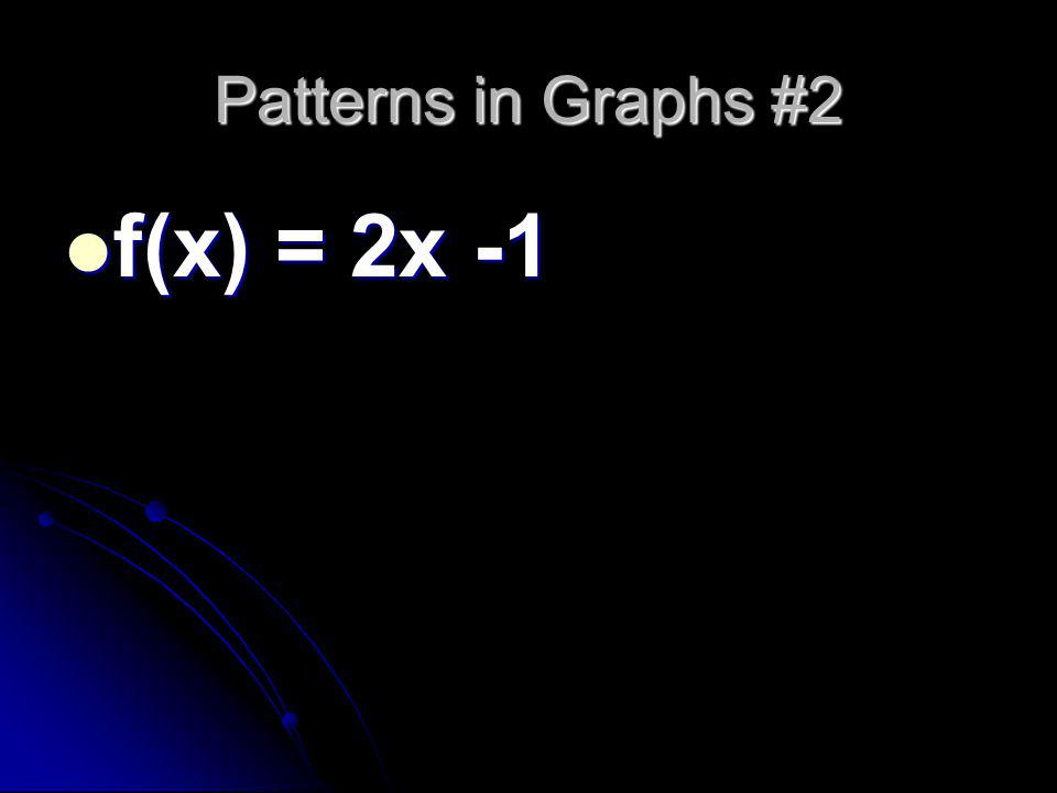 Patterns in Graphs #2 f(x) = 2x -1