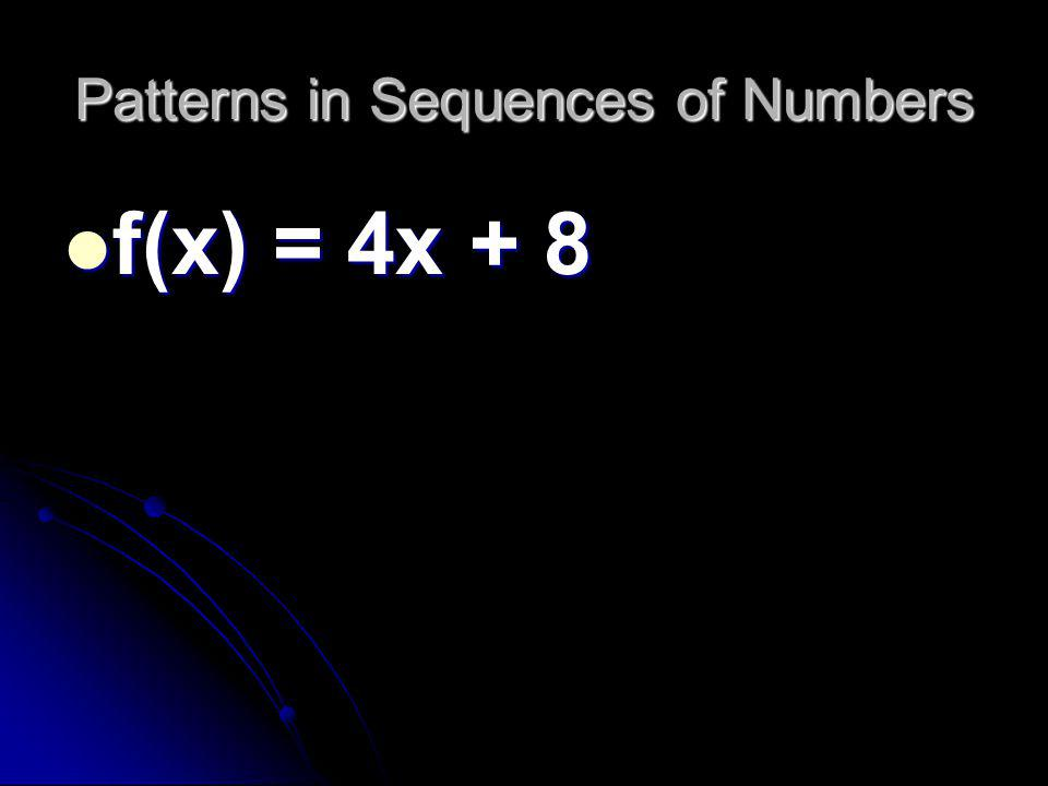 Patterns in Sequences of Numbers