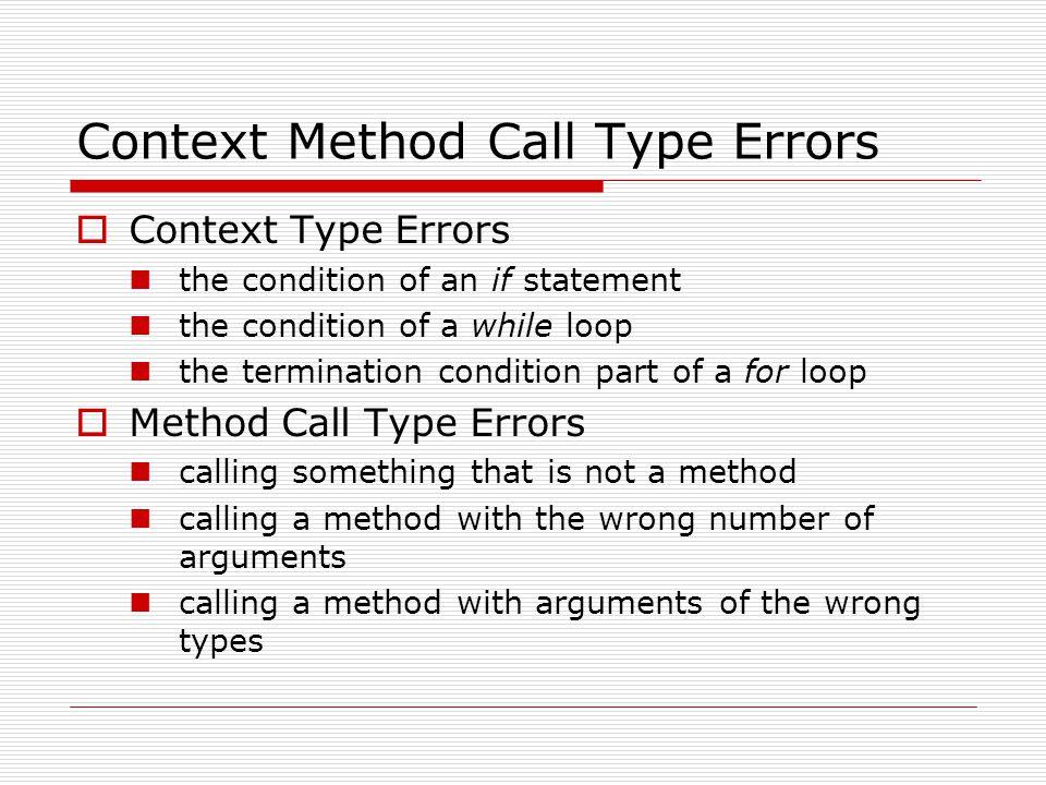 Context Method Call Type Errors