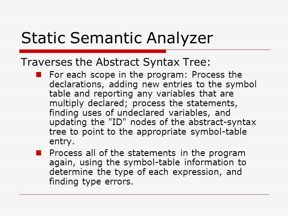 Static Semantic Analyzer